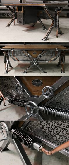 The Steampunk Desk – arguably one of Steel Vintage's most impressive designs. Th… The Steampunk Desk – arguably one of Steel Vintage's most impressive designs. The combination of hand fabricated radiators, copper pipe work and cast steel valves ensures an Industrial Furniture Uk, Industrial Living, Industrial Shelving, Steel Furniture, Industrial Interiors, Industrial Chic, Cool Furniture, Industrial Bedroom, Industrial Wallpaper