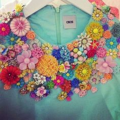 My husband would roll his eyes at my DIY anthropologie over girly-vintage-floral stuff. asos - Embellished collar can be done with some great fabric florals with button centers! Fashion Details, Diy Fashion, Fashion Photo, Flower Fashion, Style Fashion, Textiles, Moda Floral, Lesage, Vintage Mode