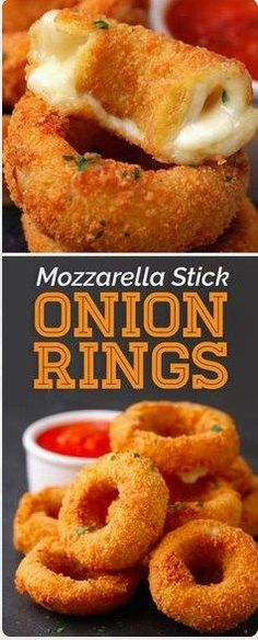 These Mozzarella Stick Onion Rings Should Run For President. I mean, they pretty much set the bar for the ultimate hybrid bar snack. #mozzarella #stick #onionrings #snack #dessert #easyrecipes