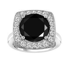 Beautiful huge Black and white Diamond Engagement Ring. 14K white gold 6.89 Carat Unique Design Halo handmade