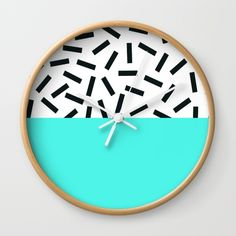 Memphis pattern 18 Wall Clock by dizzymoments
