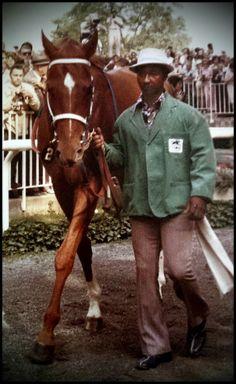 Secretariat with Eddie Sweat at the Belmont 1973.