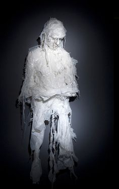 Artist Khalil Chishtee is a sculpter creating human form from discarded plastic bags. His works often express the feelings of sorrow, dejection and even victimhood. As they are created from items that are used once and then discarded adds to the layers of meaning in his work. His work is one part commentary on waste and consumption, and one part reflection of the human experience.