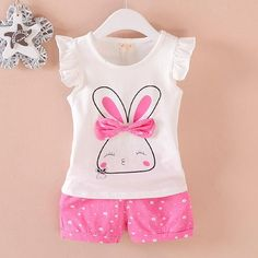 Summer Girls Clothing Sets Kids Clothing Baby Fashion Cartoon Rabbit Vest T-Shirts Shorts Toddler Cotton Sportswear Kids Outfits Girls, Toddler Outfits, Boy Outfits, Batman Outfits, Formal Outfits, Short Outfits, Baby Girl Tops, Baby Girl Pants, Baby Girls