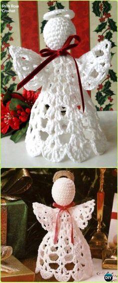 New Crochet Christmas Decorations Angel Ornaments Free Pattern Ideas Crochet Christmas Decorations, Christmas Crochet Patterns, Crochet Ornaments, Crochet Decoration, Crochet Snowflakes, Holiday Crochet, Crochet Gifts, Angel Crochet Pattern Free, Crochet Angels