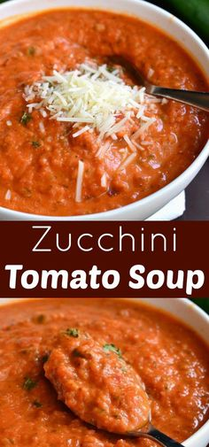 Zucchini Tomato Soup Recipe Delightful comforting and easy tomato soup made with addition of fresh zucchini It s creamy and made with some fresh grated Parmesan cheese Serve it with some grilled cheese sticks for a fun lunch Recetas Zuchinni, Zuchinni Recipes, Zucchini Tomato, Zucchini Soup, Vegetarian Recipes, Cooking Recipes, Healthy Recipes, Grilled Cheese Sticks, Clean Eating Snacks
