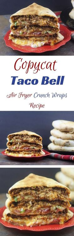 You Have Meals Poisoning More Normally Than You're Thinking That Copycat Taco Bell Air Fryer Crunch Wraps Recipe. I'll Have To Try This In My Convection Oven On A Mesh Screen In A Sheet Pan. Air Fryer Oven Recipes, Air Fry Recipes, Copycat Recipes, Cooking Recipes, Pork Recipes, Taco Bell Crunchwrap, Crunchwrap Recipe, Crunchwrap Supreme, Crunch Wrap