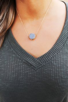 Dainty Stone Necklace- Grey - Dottie Couture Boutique