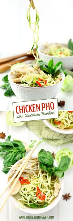 Homemade Vietnamese Pho soup that's been healthified with zucchini noodles and packed-full of veggies. Don't be intimidated, this Healthy Chicken Pho with Zucchini Noodles is a lot easier than you think!