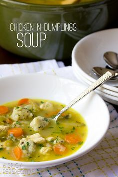 Chicken N Dumplings Soup Recipe (from A Spicy Perspective). Being British, I will add some shredded suet to the dumplings to make them better (in my opinion, anyway)! Nell