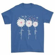 Faith Hope Love Butterfly Tee Daisy Shirts-SFNeewho-Mercantile Americana Faith Hope Love, Black And Navy, Online Shopping Clothes, Women's Tees, Shirts, Size Chart, Daisy, Butterfly, Bleach
