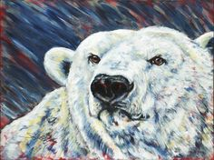 """Polar Bear, original painting by Sara Cuthbert. From the """"Red Series"""", endangered animals. Acrylic on canvas. Visit saracuthbert.com"""