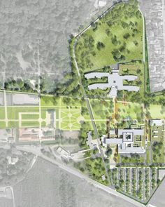 Plan masse des aménagement des espaces extérieurs du site MGEN de la Verrière                                                                                                                                                                                 Plus