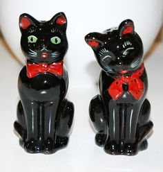 Rare+Salt+and+Pepper+Shakers+Cats | Vintage Black Cat Salt and Pepper Shakers Shafford, 1950s, Japan