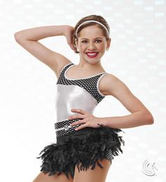 Curtain Call Costumes® - Too Cool (also in Pink & Silver) Mystique nylon/spandex and foil print poly/spandex boy short leotard with attached mystique binding belt and faceted stone trim. INCLUDES: binding headband. (Does not include Feather Skirt) Troupe price: $65 AUD - $70 AUD