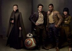 Freedom Fighters Carrie Fisher, Oscar Isaac, John Boyega, and Kelly Marie Tran as the rebels General Leia Organa, Poe Dameron, Finn, and Rose Tico, with droid BB-8.