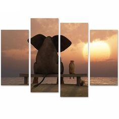 Elephant Watching Sunset Canvas