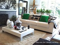 couch with black and green accents