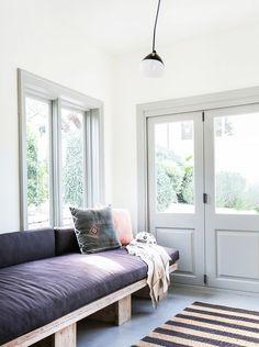 White walls colored frames: Tour an Interior Designer's Ultra-Cool Malibu Farmhouse via Interior Trim, Interior Exterior, Interior Design, Modern Interior, Living Room Designs, Living Spaces, Modern Farmhouse, Farmhouse Interior, Malibu Homes