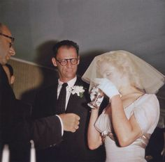 Marilyn Monroe and Arthur Miller on their wedding day. Photo by Milton Greene, 1 July,