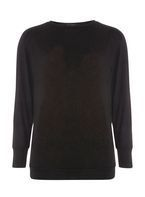 Womens Black Split Sleeve Jersey Knitted Top- Black