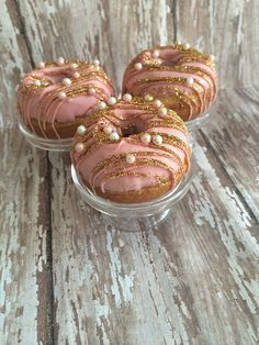 12 Blush Pink Gold Pearl Mini Glam Donuts Wedding Birthday Bridal Baby Shower Party Sweets Table Favor