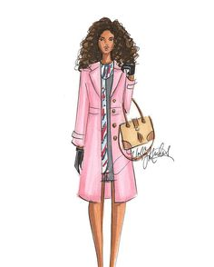 H. Nichols Illustration | Coats for Fall/Winter | Plush Twill Coat in Aster by Talbots, Kelsey Tassel Doctor Bag, also Talbots