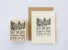 Succulent Save the Date stamp by nativebear on Etsy, $85.00