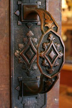 Ornate solid cast brass Victorian door handle in excellent condition. The back plate measures 10 tall x 2 wide. — at Old Portland, Hardware Architectural - Architectural Salvage in Portland, Oregon Cool Doors, Unique Doors, The Doors, Windows And Doors, Door Knobs And Knockers, Knobs And Handles, Door Handles, Drawer Knobs, Drawer Pulls