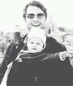 "Misha Collins with his ""bodyguard""."