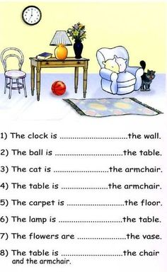 Prepositions Of Place Exercises Worksheets - Grundschule English Prepositions, English Worksheets For Kids, English Activities, Language Activities, English Vocabulary, Prepositions Worksheets, Preposition Activities, Preposition Pictures, Kids Worksheets