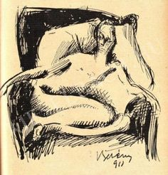 Sitting Nude in the armchair (sketch) - Berény Róbert , 1911 Hungarian, 1887-1953 Ink sketch