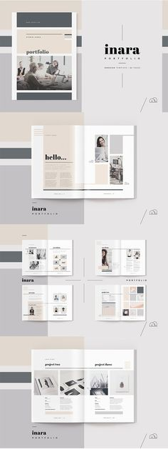 Portfolio Inara Stand out from the competition, with this new portfolio template from the 'Inara' range. A complete 24 page document, created by an experienced designer, with all the sections you need to impress future clients. Layout Design, Design De Configuration, Print Design, Layout Cv, Flyer Design, Portfolio Design, Mise En Page Portfolio, Template Portfolio, Industrial Design Portfolio
