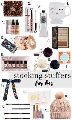 Stocking Stuffer Gift Ideas Happy Friday y'all! I am wrapping up this week with my favorite gift guide yet– STOCKING STUFFERS! Stocking stuffers are my favorite things to buy… Last Minute Christmas Gifts, Handmade Christmas Gifts, Popular Christmas Gifts, Personalized Christmas Gifts, Christmas Ideas, Holiday Crafts, Stocking Stuffers For Her, Christmas Stocking Stuffers, Gifts For Boss