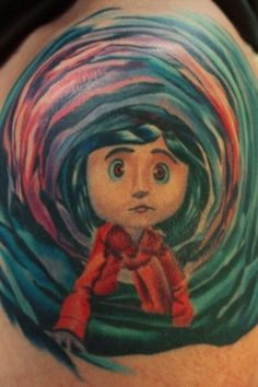 Coraline Jones Tattoo done by Kelly Gelling at Artful Ink Tattoo Studios in NY.