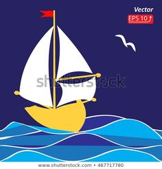 Boat Cartoon, Sea And Ocean, Illustration, Sailing, Yellow, Movie Posters, Pinterest Decorating, Vectors, Pictures