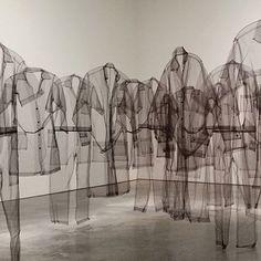 Claudia Casarino- I love the idea of a hanging shirt army Art Cube, Illustration Art, Illustrations, Rei Kawakubo, Land Art, Art Plastique, Mode Inspiration, Installation Art, Fashion Installation