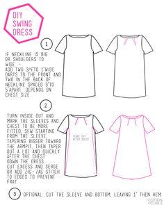 very easy DIY swing dress refashion tutorial