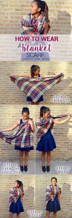 How to wear a blanket scarf: shoulder wrap edition! Check out other great ways to tie this plaid blanket scarf HERE! {FYI} Plaid blanket scarves are only $25.00 at 522envy.com right now!