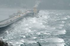 The Hood Canal floating bridge during a windy storm.