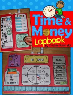 Time & Money Lapbook Interactive Kit from Chrissie Rissmiller on TeachersNotebook.com -  (30 pages)  - Photo illustrations and black line masters for making a time and money lapbook with your students.