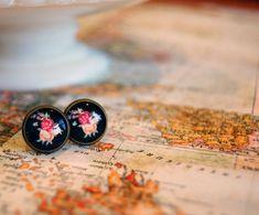 black floral vintage framed post earrings antique by mossandmirror, $12.00