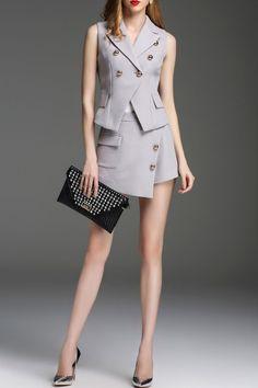 Zyym Light Gray Sleeveless Blazer With Asymmetric Shorts | Shorts at DEZZAL