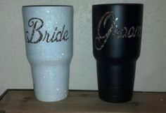 Camo bride and groom powder coated yetis Gifts For Wedding Party, Party Gifts, Our Wedding, Wedding Ideas, Mason Jar Wine, Wine Bottles, Vaso Yeti, Bride And Groom Silhouette, Hanging Necklaces