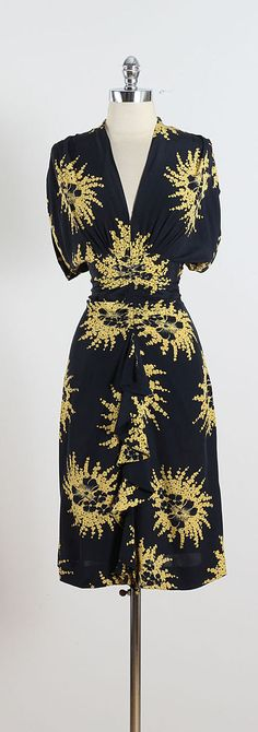 Silk Ribbon Bouquet ➳ vintage 1940s dress * navy silk * yellow floral ribbon bouquet print * gathered hips with front center ruffle * metal side zipper  condition