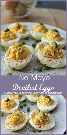 Bacon deviled eggs are a tasty spin on deviled eggs and topped with a generous amount of bacon and chives. They're perfect for a party or gathering, delicious and highly addictive! The best deviled eggs recipe! Deviled Eggs No Mayo, Healthy Deviled Eggs, Deviled Eggs Recipe, Egg Recipes, Cooking Recipes, Healthy Recipes, Delicious Recipes, Recipies, Yummy Food