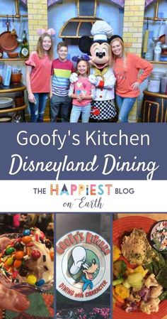 Goofy's Kitchen character dining at Disneyland Resort with both breakfast and dinner options. Disneyland Hotel, Disneyland Dining, Disneyland Secrets, Disneyland Food, Downtown Disney, Disney Dining, Disneyland Character Dining, Disneyland With A Toddler, Goofy's Kitchen