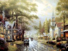 Small Town Tranquilo - Heartwaming pinturas de Thomas Kinkade