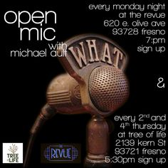 Don't miss our first Open Mic Night with Michael Ault tonight at 6 pm. The arts are alive and well again in downtown Fresno! Come and see us for a fantastic evening.  #Fresno #OpenMic