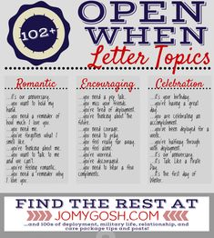 Love these open when letter topics! Makes my life easier for deployment Are you looking for original ideas for a gift for boyfriend and you can't make a worthy choice? Try this list of best gift ideas which was created by a bunch of geeks who partake in way too much online window shopping. boyfriend gifts | boyfriend gifts birthday | boyfriend gifts just because | gift for boyfriend | gift for boyfriend long distance